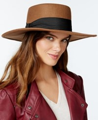 Nine West High Crown Felt Boater Hat Pecan
