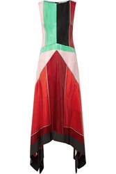 Diane Von Furstenberg Asymmetric Color Block Textured Silk Maxi Dress Us0 Gbp