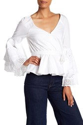 Rebecca Minkoff Melly Eyelet Lace Bell Sleeve Top White