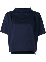 Strasburgo Roll Neck Cropped Blouse Blue