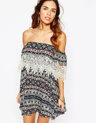 Kiss The Sky Off Shoulder Dress With Lace Trim In Aztec Print Multi
