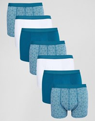 Asos Trunks With Geo Print 7 Pack Blue
