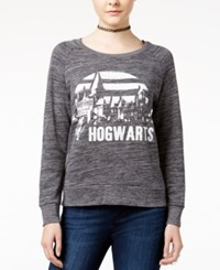 Bioworld Juniors' Harry Potter Hogwarts Graphic Sweatshirt Charcoal Heather