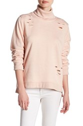 Ooberswank Distressed Zip Turtleneck Pullover Pink