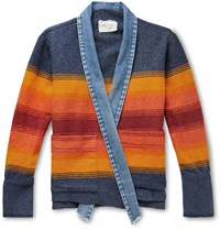 Greg Lauren Boxy Kimono Studio Distressed Denim Trimmed Striped Wool Blend Jacket Multi
