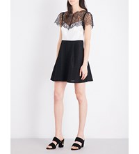 Sandro Lace Overlay Woven Dress White