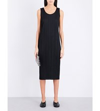 Issey Miyake Pleats Please Sleeveless Pleated Midi Dress Black
