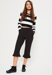 Missguided Black Frill Hem Cropped Trousers