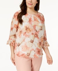 Alfred Dunner Plus Size Printed Keyhole Blouse Multi