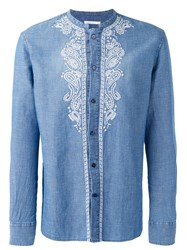 Ermanno Scervino Collarless Embroidered Panel Shirt Blue