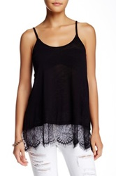Jolt Lace Trim Tunic Cami Tank Black