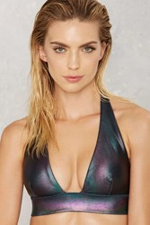 Nasty Gal Skye Oil Slick Hologram Bikini Top