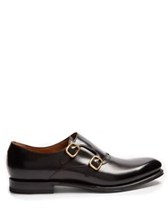 Gucci Signora Double Monk Strap Leather Shoes Black Multi