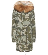 Mr And Mrs Italy Printed Cotton Parka With Fur Green