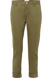 Current Elliott The Confidant Cotton Blend Straight Leg Pants Green