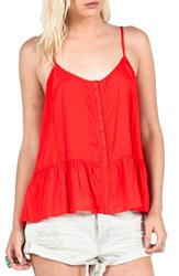 Women's Volcom 'Snap Dragon' Lace Trim Camisole Fire Red