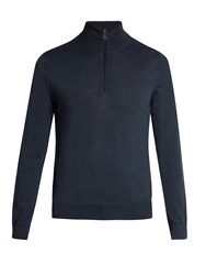 Paul Smith Half Zip Wool Sweater Blue