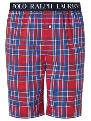 Polo Ralph Lauren Check Woven Cotton Lounge Shorts Red Navy