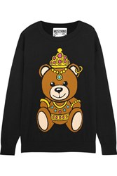 Moschino Intarsia Cotton Jersey Sweater Black