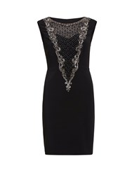 Gina Bacconi Dress With Beaded Front Panel Black