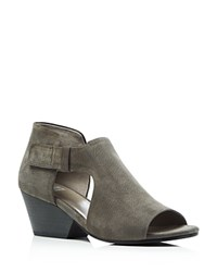 Eileen Fisher Iris Cutout Mid Heel Booties Graphite