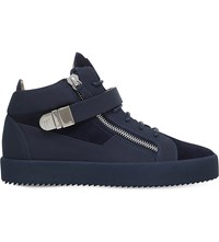 Giuseppe Zanotti Carter Bangle Strap Leather High Top Trainers Navy
