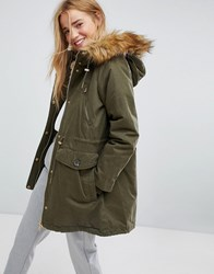 Pull And Bear Pullandbear Faux Fur Hood Parka Coat Khaki Green