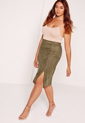 Missguided Plus Size Thigh Split Faux Suede Midi Skirt Khaki Beige