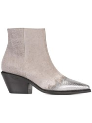 Vic Matie Pointed Metallic Toe Boots Grey