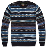 Barbour Heritage Caistown Fair Isle Crew Navy
