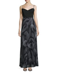 Laundry By Shelli Segal Sweetheart Neck Pleated Skirt Maxi Dress Black Multi