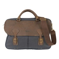 Barbour Wax Cotton Leather Briefcase Navy