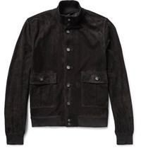 Valstarino Unlined Suede Bomber Jacket Black
