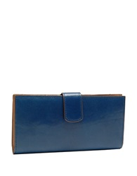 Tusk Tuscany Leather Slim Clutch Wallet Marine Blue