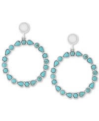Lucky Brand Silver Tone Blue And White Stone Drop Hoop Earrings