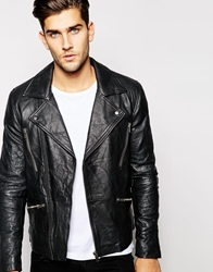 Barney's Leather Jacket Biker Black