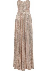 Badgley Mischka Strapless Pleated Sequined Tulle Gown Antique Rose