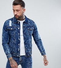 Brooklyn Supply Co. Co Acid Wash Denim Jacket With Rip And Repair Bl1 Blue 1