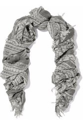 Chan Luu Fringed Printed Cashmere And Silk Blend Gauze Scarf Gray