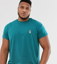New Look Plus T Shirt With Peace Embroidery In Teal Green