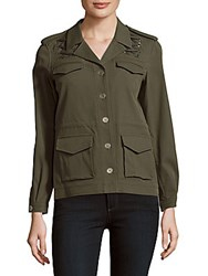 The Kooples Solid Four Pocket Long Sleeve Jacket Green