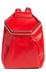 Leith Metal Handle Faux Leather Convertible Backpack Red