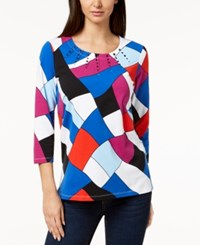 Alfred Dunner Petite Upper East Side Printed Embellished Neck Top Multi