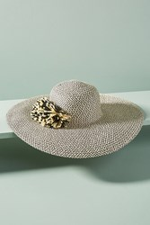 Anthropologie Delmare Floppy Hat Black Motif