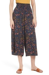 Hinge Wide Leg Flowy Pants Navy Blue Ethereal Floral