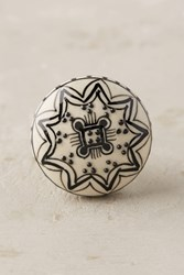 Anthropologie Floral Contrast Knob Black White