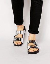 Asos Sandals In Silver With Buckle Silver