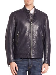 Andrew Marc New York Long Sleeve Leather Jacket Ink