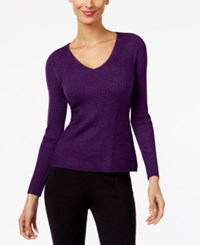 Inc International Concepts Ribbed V Neck Sweater Only At Macy's Blackberry Jam