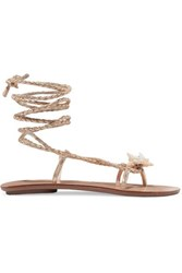 Loeffler Randall Shelly Embellished Braided Metallic Leather Sandals Gold
